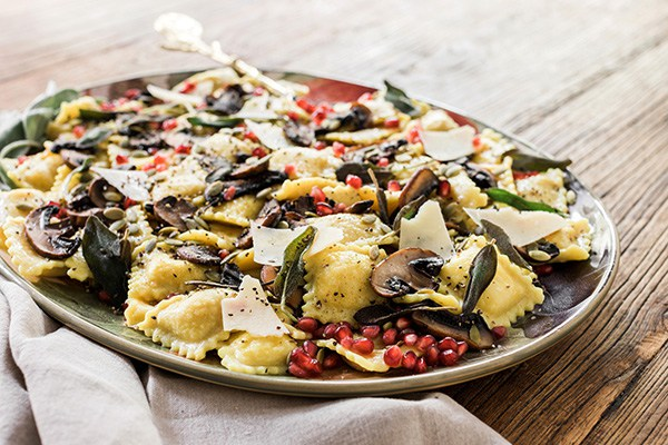 Watch Butternut Squash Ravioli with Fried Sage Leaves and Sun-Dried Tomatoes Recipe video