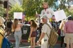 Protesters converge in Phoenix ahead of Trump's speech