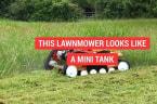 This lawnmower looks like a mini tank