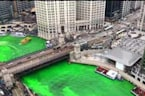 Chicago River Dyed Green to Celebrate St.Patrick's Day