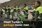Turkish garbage men strike a chord using trash cans and brooms