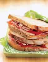 Tomato-Garlic Bread with Ham
