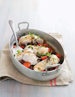 Baked Cod with Tomatoes & Olives