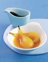 Saffron Pears with Chocolate