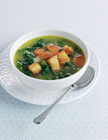 Kale Soup with Garlic Croutons