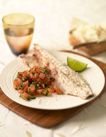 Poached Sea Bass & Salsa