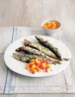Grilled Sardines with Mango and Lime Salsa