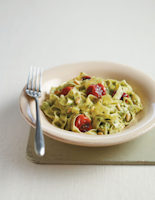 Tagliarelle with Pesto and Charred Tomatoes