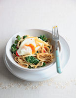 Chilli and Sprouting Broccoli Pasta with Poached Eggs