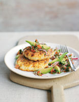 Spring Onion Rostis with Avocado, Red Onion and Tomato Salsa