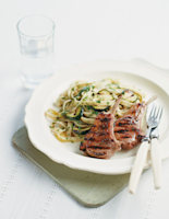 Lamb Cutlets with Garlicky Courgette and Anchovy Tagliatelle