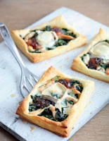 Chicken, Spinach, Onion Chutney and Goats' Cheese Tarts