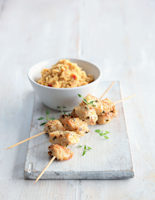 Sesame and Thyme Skewers with Spiced Chickpea Mash