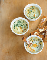 Creamy Baked Eggs with Blue Cheese