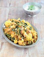 Chicken Pilau with Cauliflower, Spinach and Green Beans