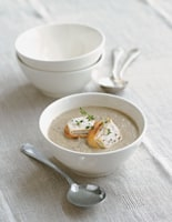 Mushroom and Thyme Soup with Goats' Cheese Croûtes