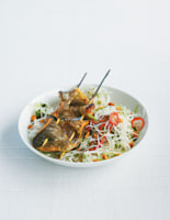 Turmeric Mackerel Skewers with Chilli Rice Noodles