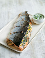Whole Roasted Salmon with Lemon and Herb Tartare