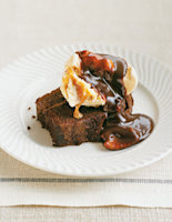 Chocolate Sponge Puddings with Praline Sauce