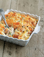 Tuna Pasta Gratin with Butternut Squash and Peas