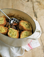 Beef Stew with Garlic Bread Topping