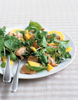 Mango and Spinach Salad with Warm Peanut Chicken