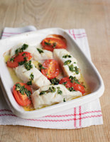 Cod Fillets with Tomatoes and Salsa Verde