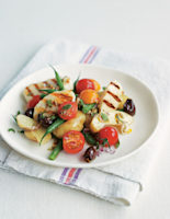 Chargrilled Haloumi with Roasted Olives and Salad