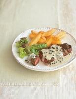 Fried Steak with Green Peppercorn Sauce
