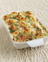Salmon, Leek and Pea Pie with Dill Mash
