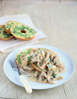 Creamy Herby Chicken with Mushrooms on Bagels