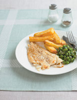 Golden Pollack with Homemade Chips and Herby Peas