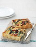 Asparagus, Aubergine, Brie and Tomato Quiche