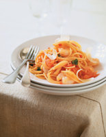 Spaghetti Arrabiata with Chilli and Prawns
