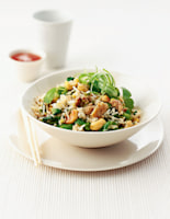 Spicy Fried Rice with Spinach Salad
