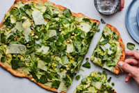 White Pizza with Shaved Vegetables and Pesto