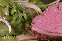 How to Make a Roasted Beef Tenderloin with Arugula and Pear Salad