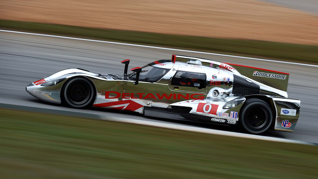 Petit Le Mans Auto Racing (Andy Meyrick, of England, drives the DeltaWing DWC13 during practice for the American Le Mans Series' Petit Le Mans auto race at Road Atlanta, Friday, Oct. 18, 2013, in Bras