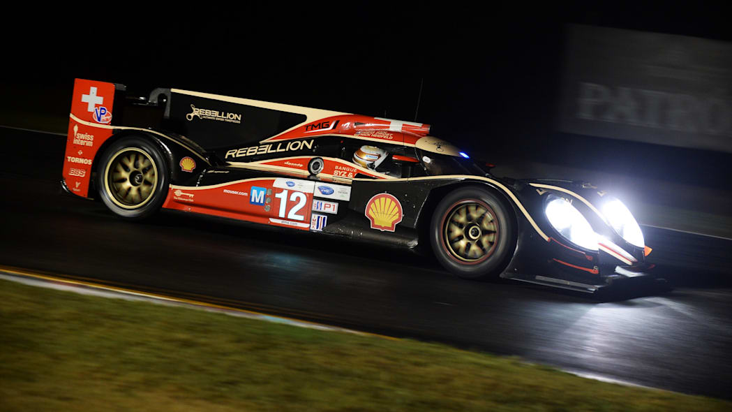 ALMS Petit Le Mans Auto Race (Neel Jani, of Switzerland, drives the Rebellion Racing Lola B12/60 Toyota during night practice for the American Le Mans Series' Petit Le Mans auto race at Road Atlanta,