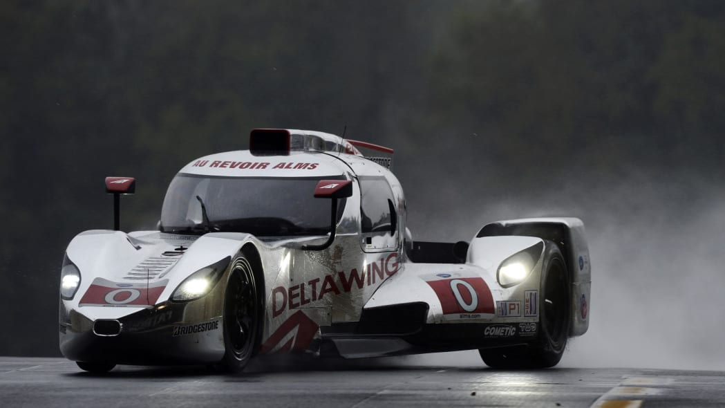 Petit Le Mans Auto Race (Katherine Legge, of England, drives the DeltaWing DWC13 during practice for the American Le Mans Series' Petit Le Mans auto race at Road Atlanta, Thursday, Oct. 17, 2013, in B