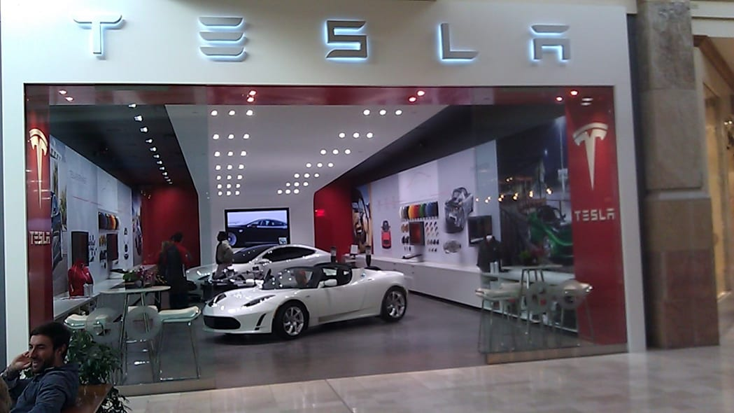 There is a Tesla store inside this mall...