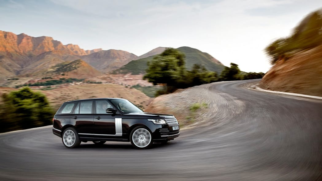 2015 Range Rover in black on a winding road