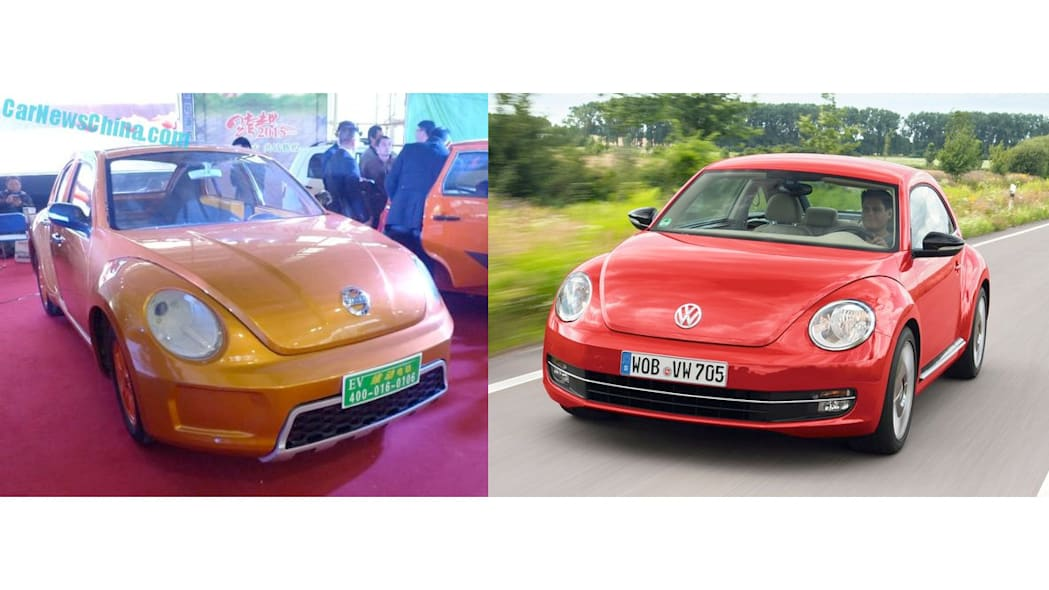 VW Beetle and VIDEOEV prototype copy front three quarter