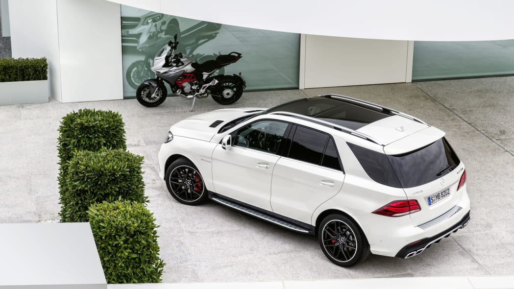 white mercedes gle63 s top motorcycle