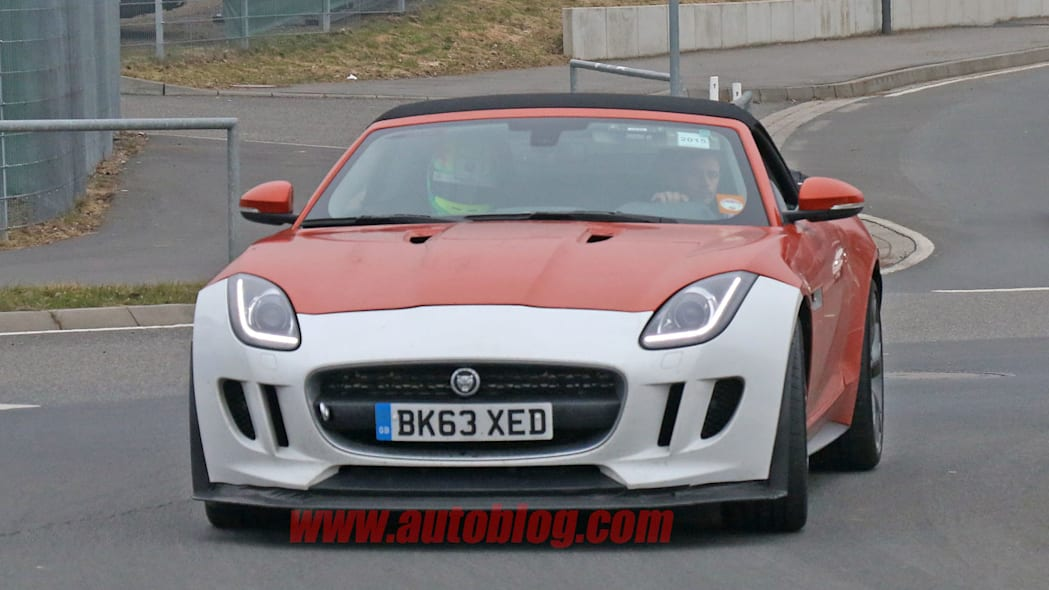 front orange jaguar f-type r-s spy shots at nurburgring