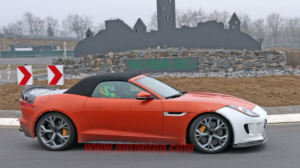 profile orange jaguar f-type r-s spy shots at nurburgring