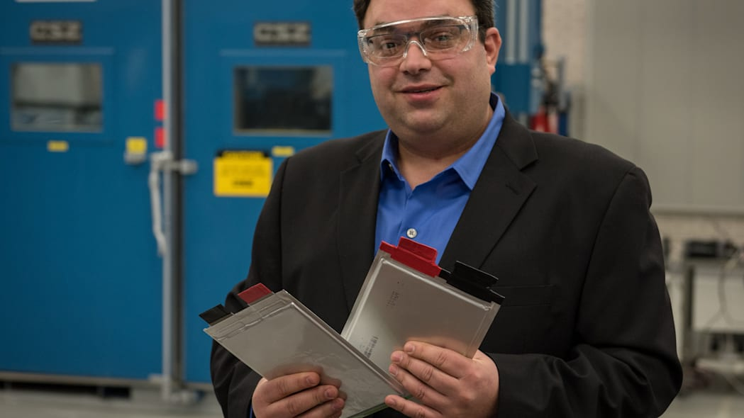 Chevy Volt Battery Cells in the lab. Held by Michael Celotto.