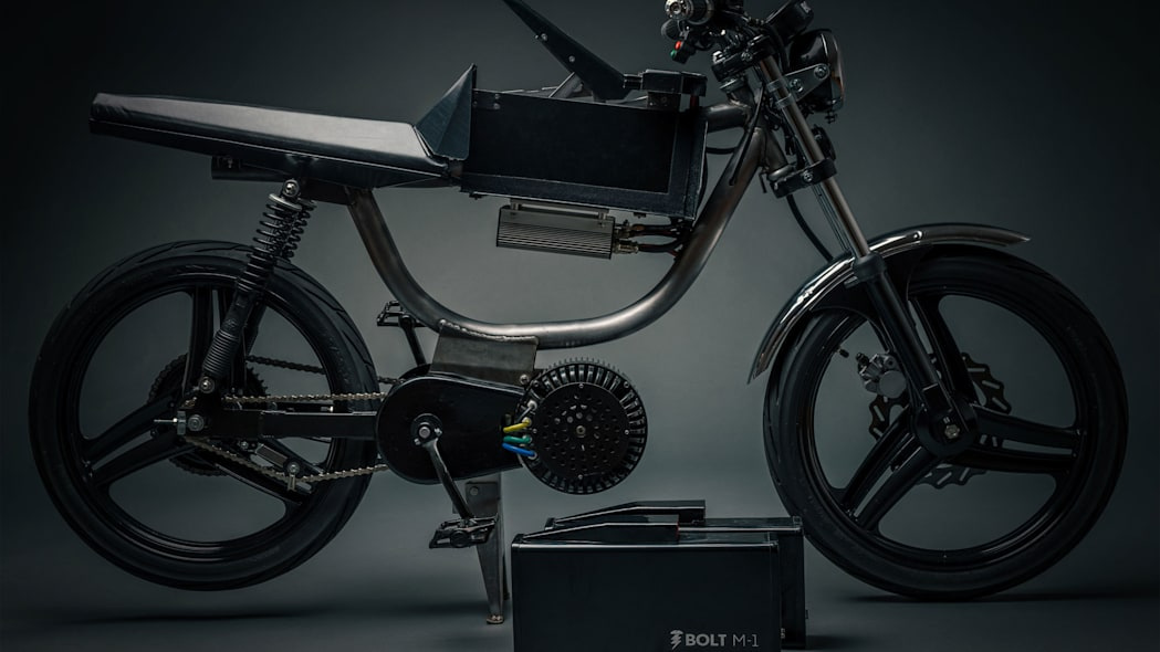 Bolt Motorbikes M-1 electric moped side shot in studio