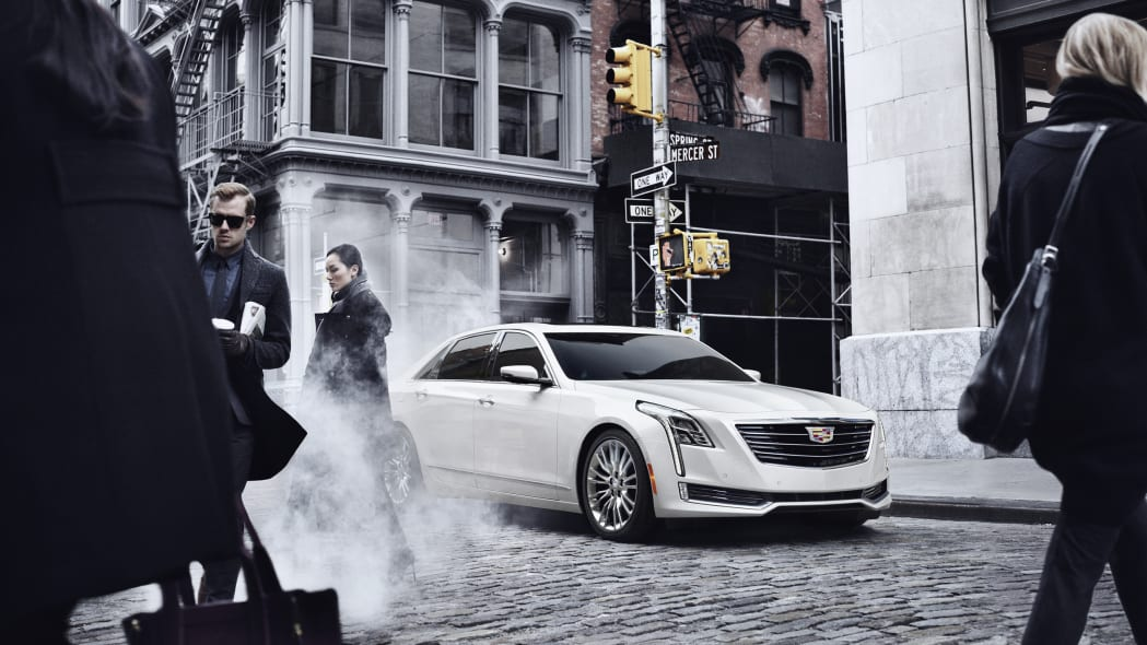 Cadillac CT6 in white in the city