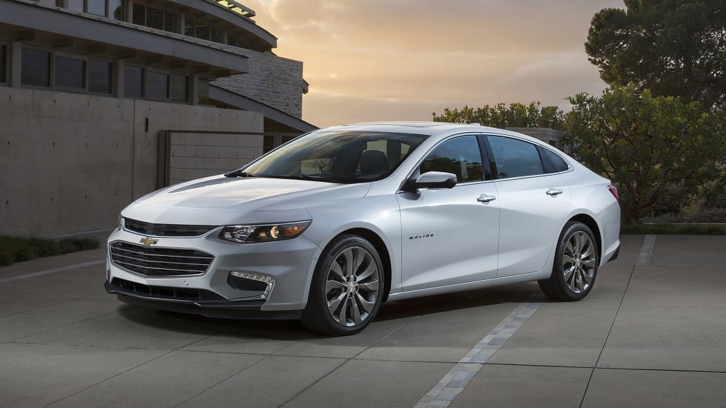 2016 Chevy Malibu in white at dusk